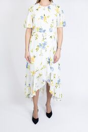 FRENCH CONNECTION Cascade Hem Belted Dress summer white multi