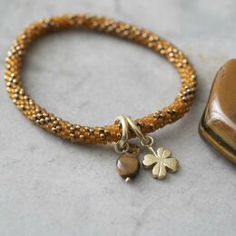 A BEAUTIFUL STORY Jacky Multi Color Tiger Eye Clover Bracelet