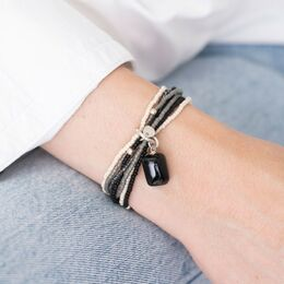 A BEAUTIFUL STORY Nirmala Black Onyx Silver Bracelet