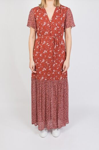 GANT Mix Print Chiffon Dress Iron red