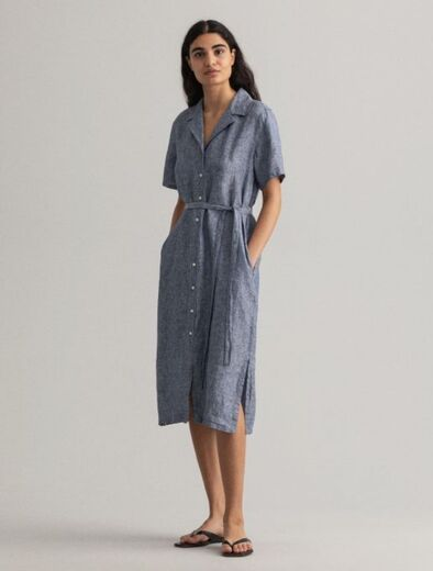 GANT Linen Chambray SS Shirt Dress persian blue