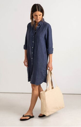 BOOMERANG Bea linen dress dark indigo
