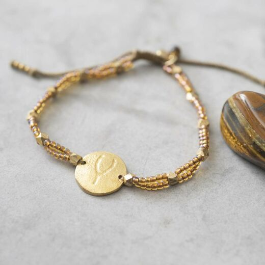 A BEAUTIFUL STORY Gratitude Tiger Eye Wishbone Bracelet