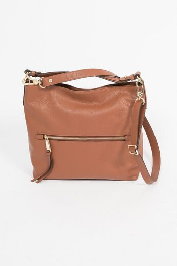 ABRO Hobo Linna Leather Bag konjakinruskea