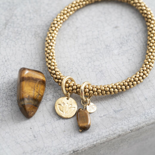 A BEAUTIFUL STORY Jacky Tiger Eye Lotus Bracelet