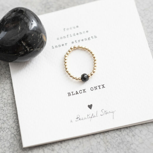 A BEAUTIFUL STORY Sparkle Black Onyx Ring