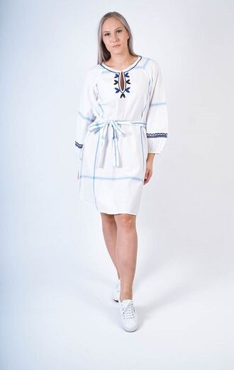 FRENCH CONNECTION Cotula Embroidered Folk Dress