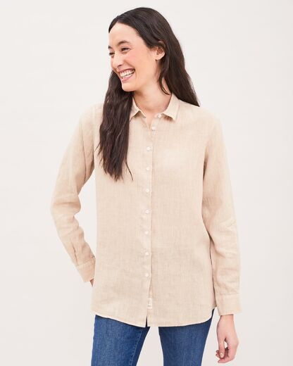 NEWHOUSE Elsa Linen Shirt golden khaki