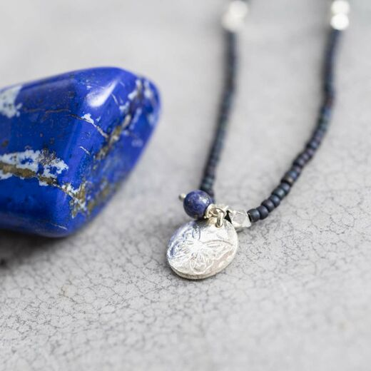A BEAUTIFUL STORY Truly Lapis Lazuli Butterfly Necklace