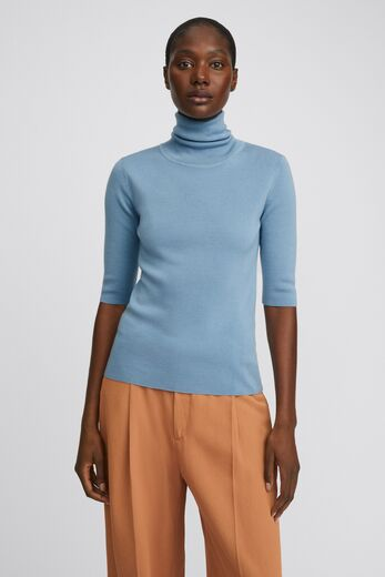 FILIPPA K Merino Elbow Sleeve Top faded blue