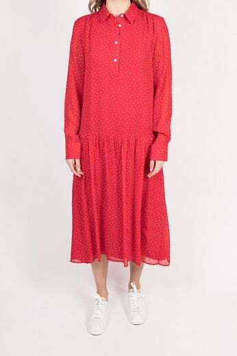 GANT French Dot Chiffon Dress punainen