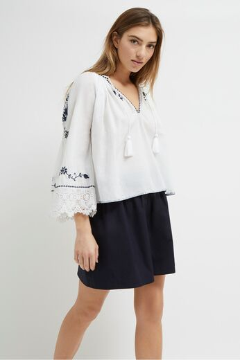 FRENCH CONNECTION Asaret Cotton Folk Blouse