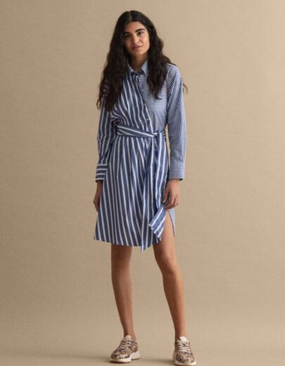 GANT Striped Knot Shirt Dress