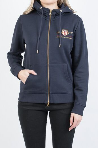GANT Archive Shield Full Zip Hoodie evening blue