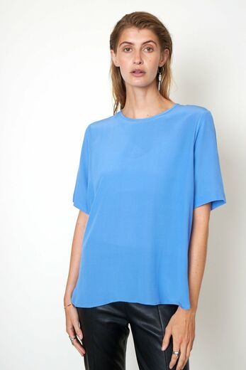 SECOND FEMALE Tonga Silk SS T-shirt blue bonnet