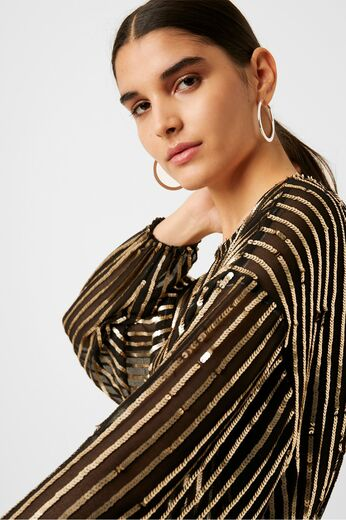 FRENCH CONNECTION Celina Sequin Striped Blouse
