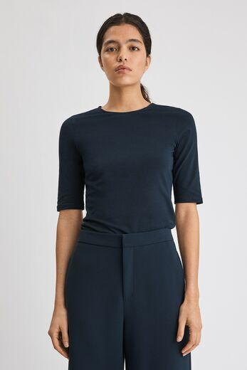 FILIPPA K Cotton Stretch Elbow Sleeve tummansininen