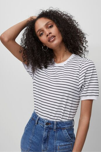 FRENCH CONNECTION Striped Puff Sleeve T-Shirt