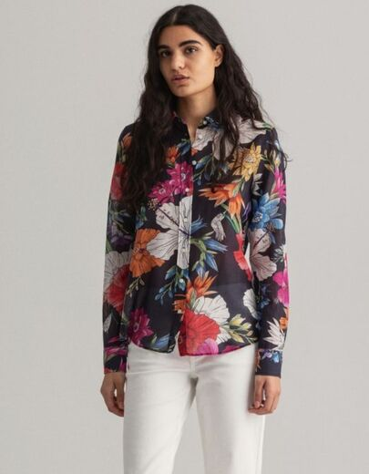 GANT Humming Floral Cotton Silk Shirt sininen