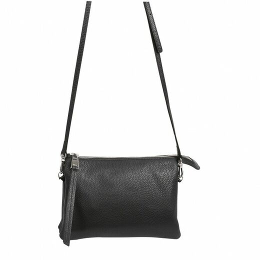 ABRO Trio Leather Bag musta/hopea