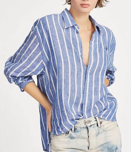 POLO RALPH LAUREN Striped Cropped Linen Shirt