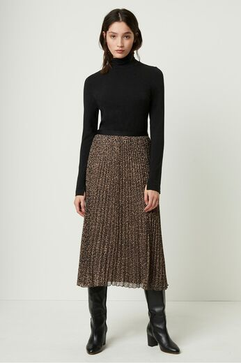 FRENCH CONNECTION Brunella Crinkle Pleated Midi Skirt