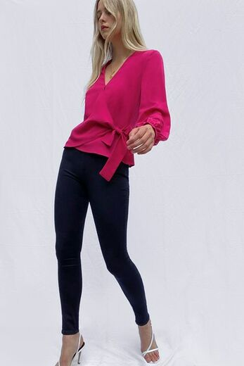 FRENCH CONNECTION Crepe Light Wrap Over Top pink cerise
