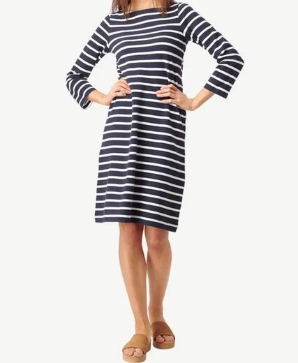 BOOMERANG Blenda Pique Stripe Dress tummansininen