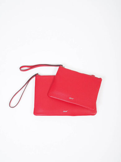 ABRO Cosmetic Leather Bag punainen
