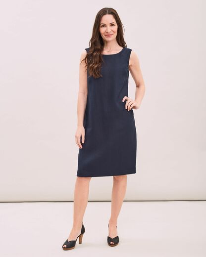 NEWHOUSE Jackie Linen Dress navy