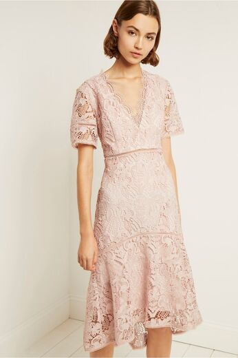 FRENCH CONNECTION Calli Lace V Neck Dress