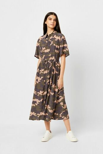 FRENCH CONNECTION Carri Drape Camo Midi Dress